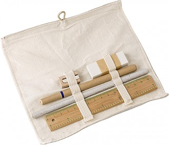 Cotton roll-up pouch with stationary set.