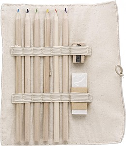 Linen and cotton sleeve with 6 coloured pencils, pencil sharpener, and eraser.