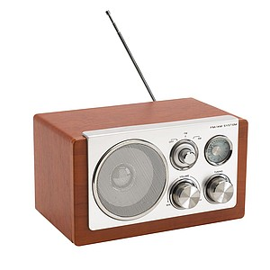 AM/FM radio with elegant wooden design, packed in a coloured gift box,colour silver, brown