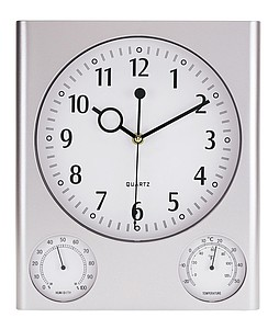 "Rectangular wall clock ""Saturn"" with hygro/ thermometer,colour silver"