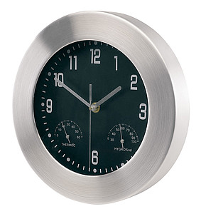 "Aluminium wall clock ""Jupiter"" with hygro/ thermometer,colour silver"