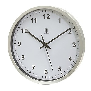 "Radio controlled clock ""Neptune"" with analogue time display,colour silver, white"