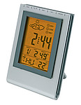 "Weather station ""Pluto"" with date, alarm clock and weather forecast,colour silver"