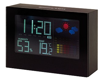 Alarm clock with weather forecast, black display with coloured elements,colour black