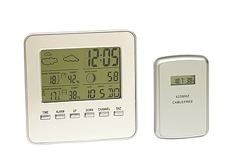 "Weather station ""In & Out"" with weather forecast,colour silver"