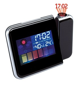 Projection alarm clock with a red LED projector,colour black