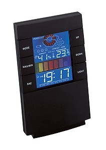 "Alarm clock ""Stealth"" with a weather station,colour black"