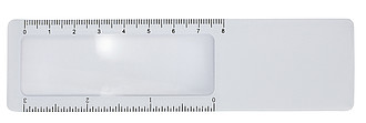 Plastic ruler with magnifierWhite