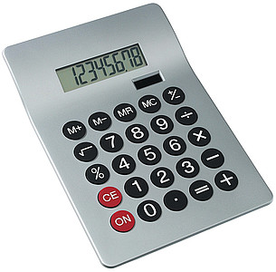 "Dual power desktop calculator ""Glossy"", 8 digits,colour silver"