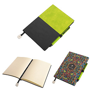 PIERRE CARDIN REPORTER SET of notepad and Celebration ballpoint pen, green