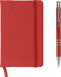 Notebook and ballpen set. Red