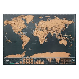 Scratch map world in chrome paper. Packed in paper tube. Size map: 42x30 cm.