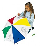 Children´s umbrella to draw on, safety opening, includes 4 crayons