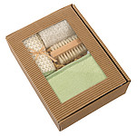 "Massage set ""Natural"", in ecological packaging,colour green, beige"