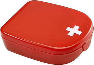 First aid kit in a plastic caseRed