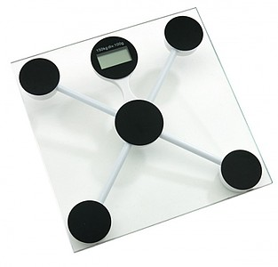 """Personal weight scale """"Ideal"""", tempered glass, capacity 2-150kg,colour transparent"""