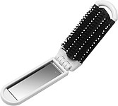 Foldable hair brush with mirrorWhite