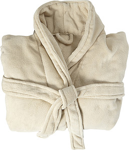 Fleece bathrobe with two sewed front pockets. Includes a belt loop in matching material of