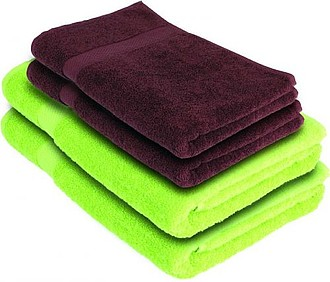 VS DEORIA 4 set of two brown terry towel and two green bath towel, 530g