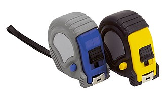 """Tape measure """"Employee"""", rubber-coated, automatic with stopper, 5m,colour black, yellow"""