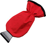 Ice scraper and polyester glove.Red