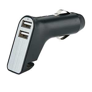 Dual port car charger with belt cutter and hammer, black