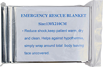 Aluminium foil isolation blanket. Packaged in a polybag.