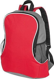 Backpack with side compartments, red