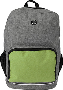 Polycanvas (300D) backpack with mesh compartments on the outside and a convenient hole for