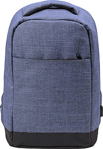 Two-tone polyester (600D) anti-theft backpack, with PVC backing.