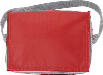 Six can polyester cooler bag.Red