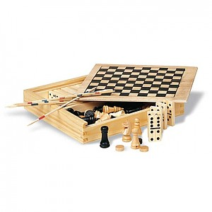 4 games in wooden box, wood