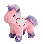 <b>Plush unicorn LILLY</b>: standing up, with soft fur and a heart to print on