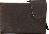 Leather wallet with aluminium RFID card holder inside.