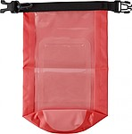 Polyester (210T) watertight bag with PVC phone pouch and plastic closure.