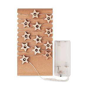 String with 20 LED lights in wooden star shape