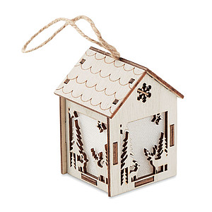 MDF decorated house with light inside with Christmas ornaments and hanging cord
