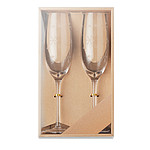Set of 2 Borosilicate champagne glasses with snow flakes decal engraved