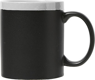 Ceramic mug with chalksBlack/ white