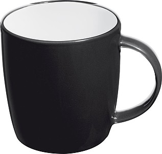 Ceramic cup, white inside and coloured outside, black