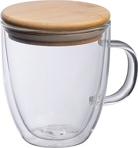 Double-walled glass with handle and 350 ml filling capacity