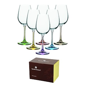 VS NUKUALOFA, Set of six wine glasses with colored necks