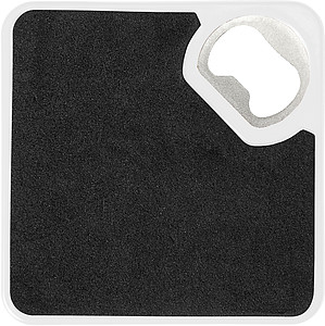 HIPS Coaster with bottle opener and non-slip bottom.