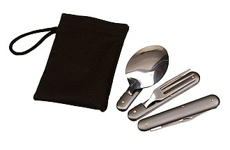 3 piece outdoor cutlery set consists of a foldable knife, fork and a spoon,colour grey