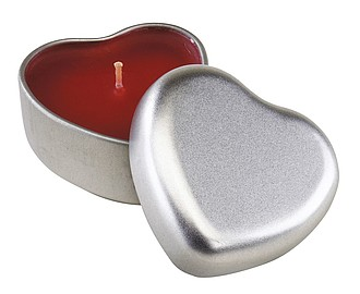 "Perfumed candle ""Good spirits"" in heart-shaped tin,colour silver, red"