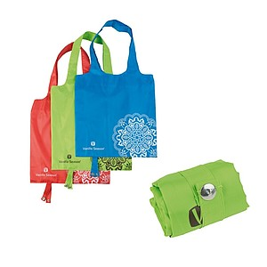 VS BATNA, foldable shopping bag, light green colour, 38x38cm, print: brown VS logo