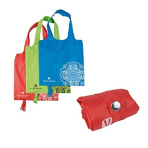 VS BATNA, foldable shopping bag, 100% polyester, RED colour, 38x38cm, print: white VS logo
