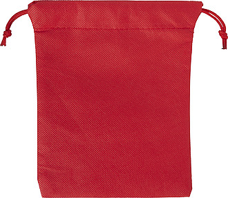 Nonwoven, drawstring pouch for gifts. The colour of the drawstring matches the colour of the pouch.