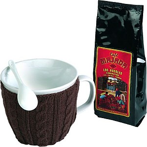 VS MAHAL Coffee Set with mug in brown sweater and coffee
