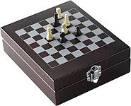 Wine set with chess-gameBrown